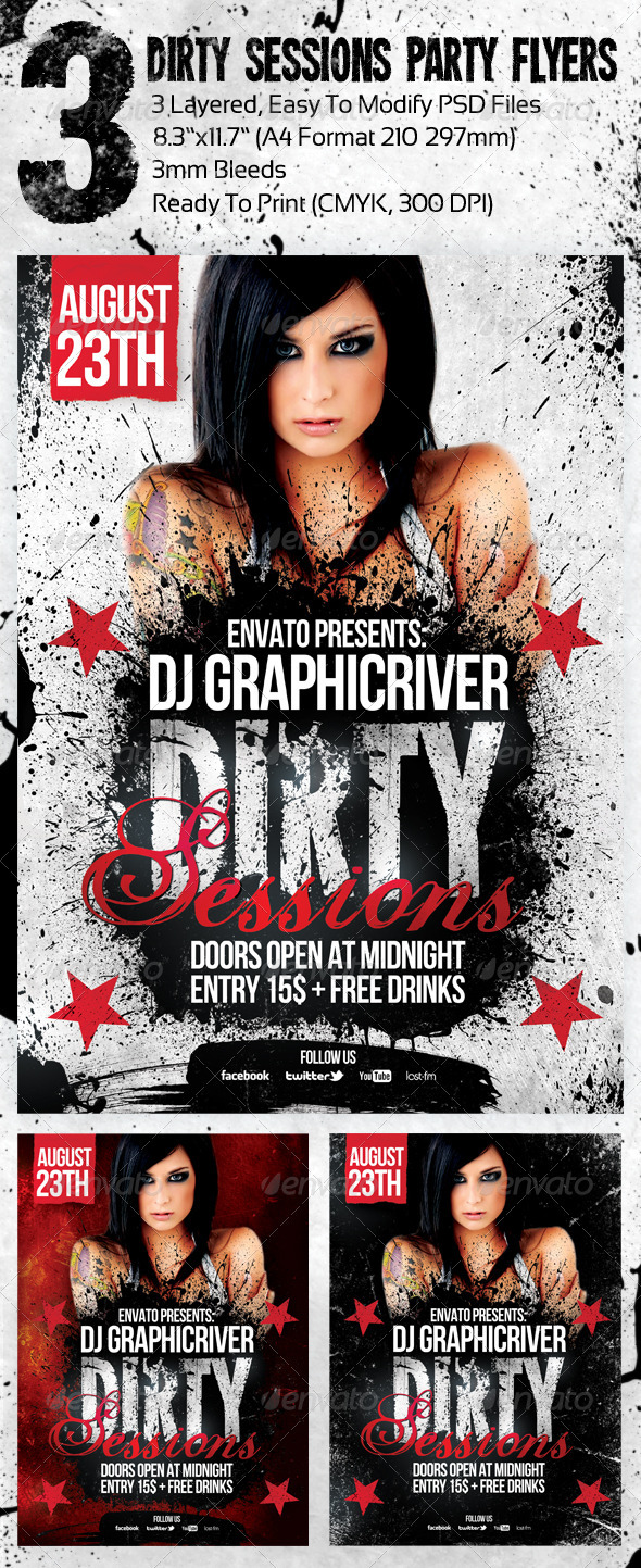 3 Dirty Sessions Party Flyers - Clubs & Parties Events
