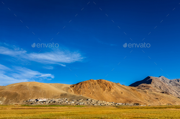 North Indian traditional Korzok village on Tso Moriri, Ladakh. 4500 meters above sea - Stock Photo - Images