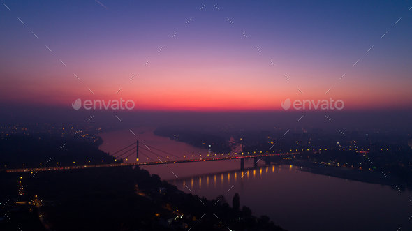 Night Cityscape from of Novi Sad from Air - Stock Photo - Images