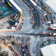Aerial view of busy crossroad with moving cars. Hong Kong - PhotoDune Item for Sale