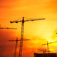 Industrial background with cranes over sunset sky - PhotoDune Item for Sale