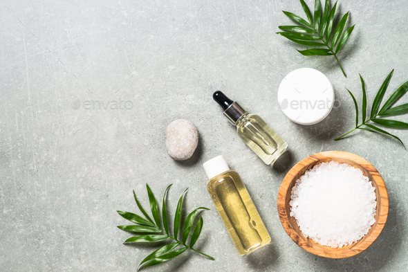 Spa product composition on stone table - Stock Photo - Images