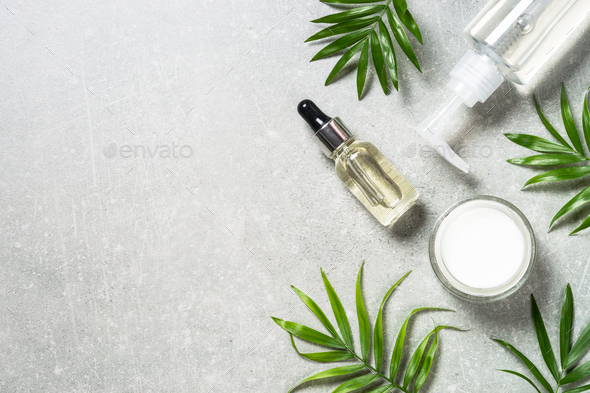 Hyaluronic acid and hyaluronic gel on stone table - Stock Photo - Images