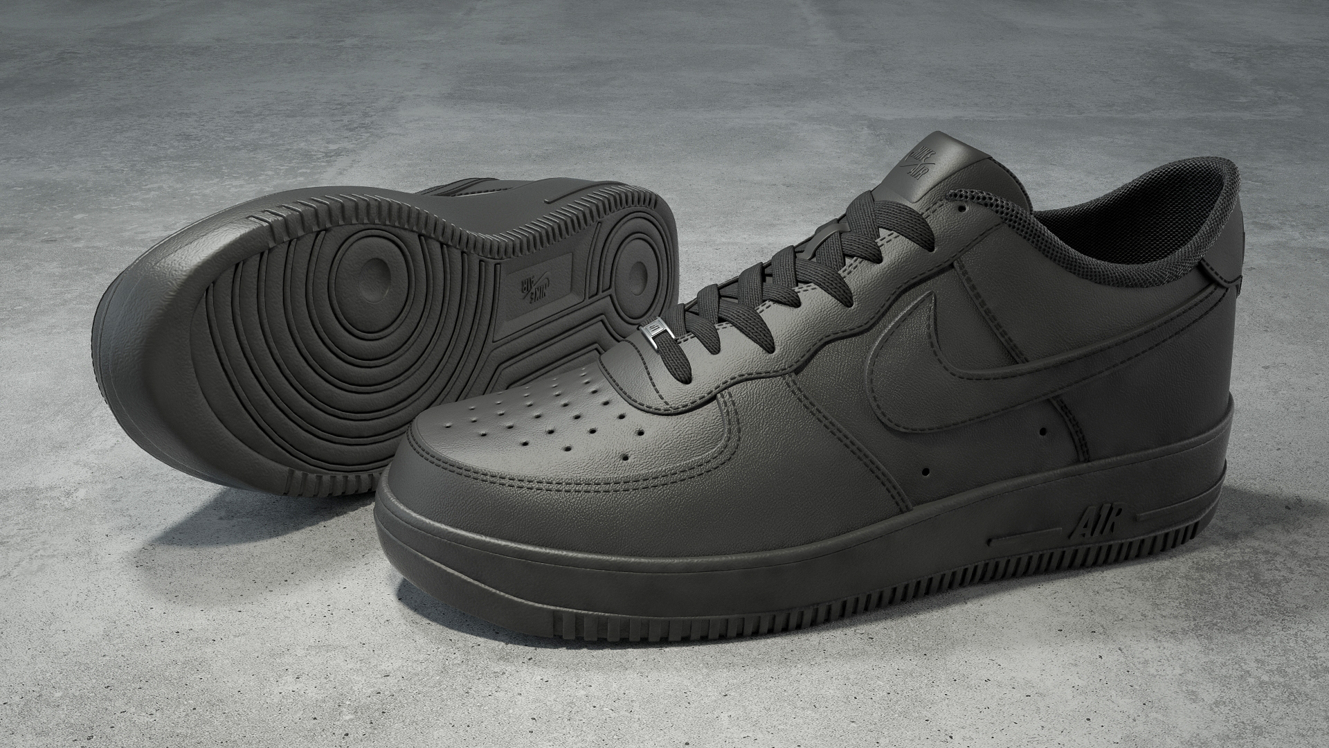 Nike Air Force 1 low black 3D model by