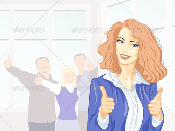 Beautiful young business woman with thumbs up - People Characters
