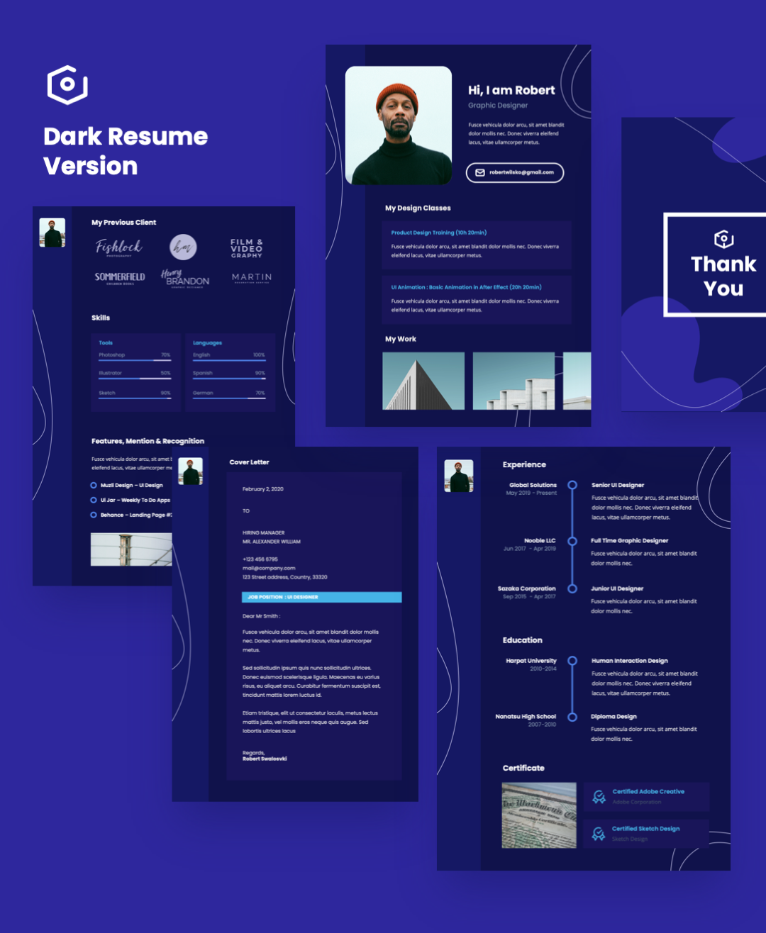 Vertical A4 Resume Powerpoint Template By MasdikaStudio