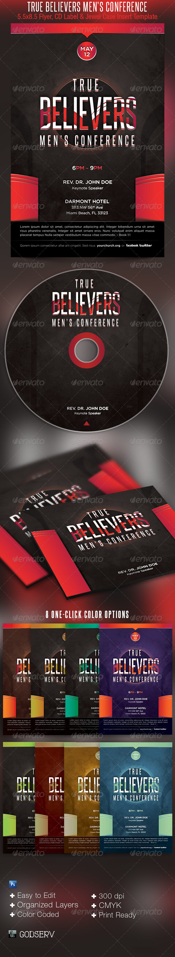Men Church Conference Flyer CD Template - Church Flyers
