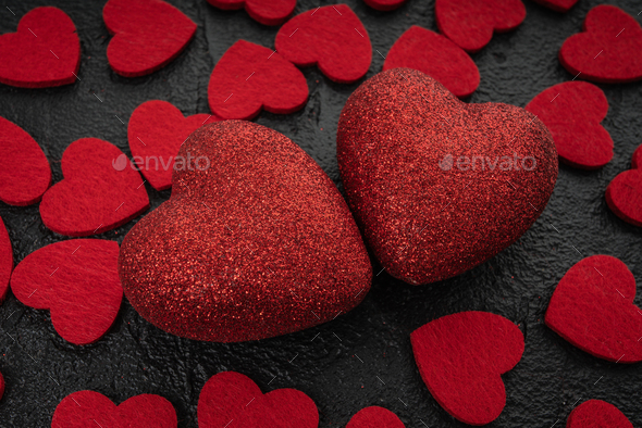 Red Heart  With  Roses. Rose petals with two heart  - love concept - Stock Photo - Images
