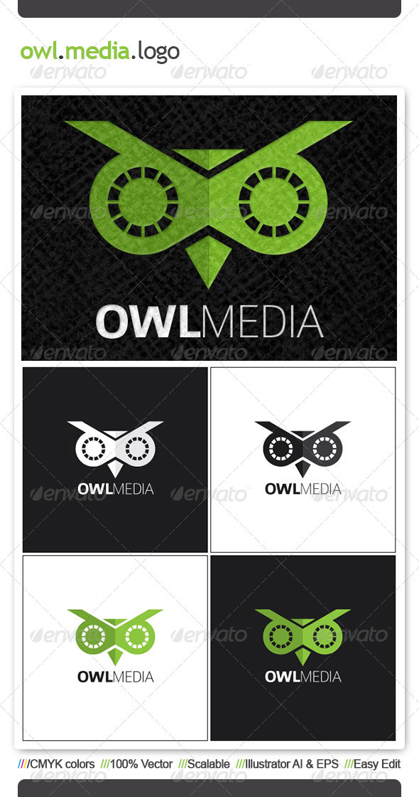 Owl Media Logo Template - Animals Logo Templates