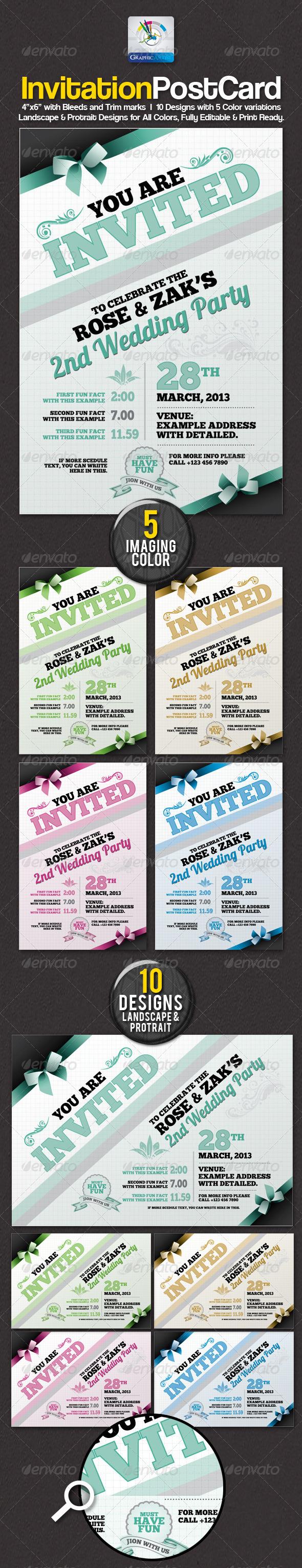 Modern Invitation Postcard Sets - Invitations Cards & Invites
