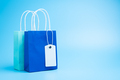 Two blue shopping or gift bags isolated on blue background - PhotoDune Item for Sale