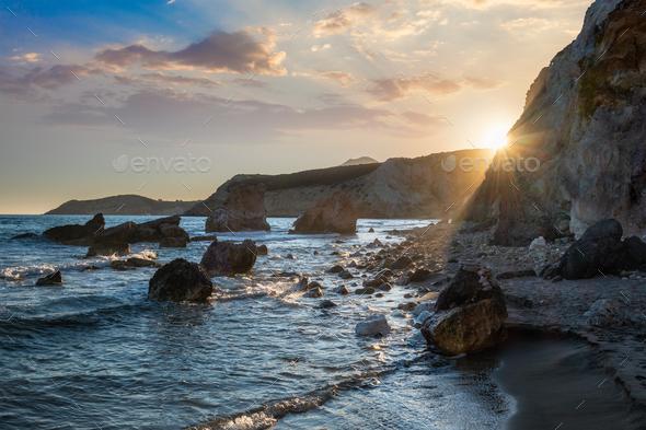 Fyriplaka beach on sunset, Milos island, Cyclades, Greece - Stock Photo - Images