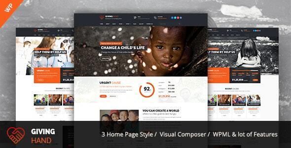 Giving hand - Charity/Fundraising WordPress Theme