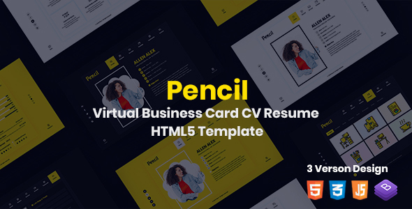 Exceptional Pencil- Virtual Business Card CV Resume HTML Template