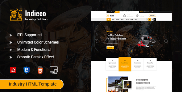 Indieco - Factory & Industry HTML Template by expert-Themes