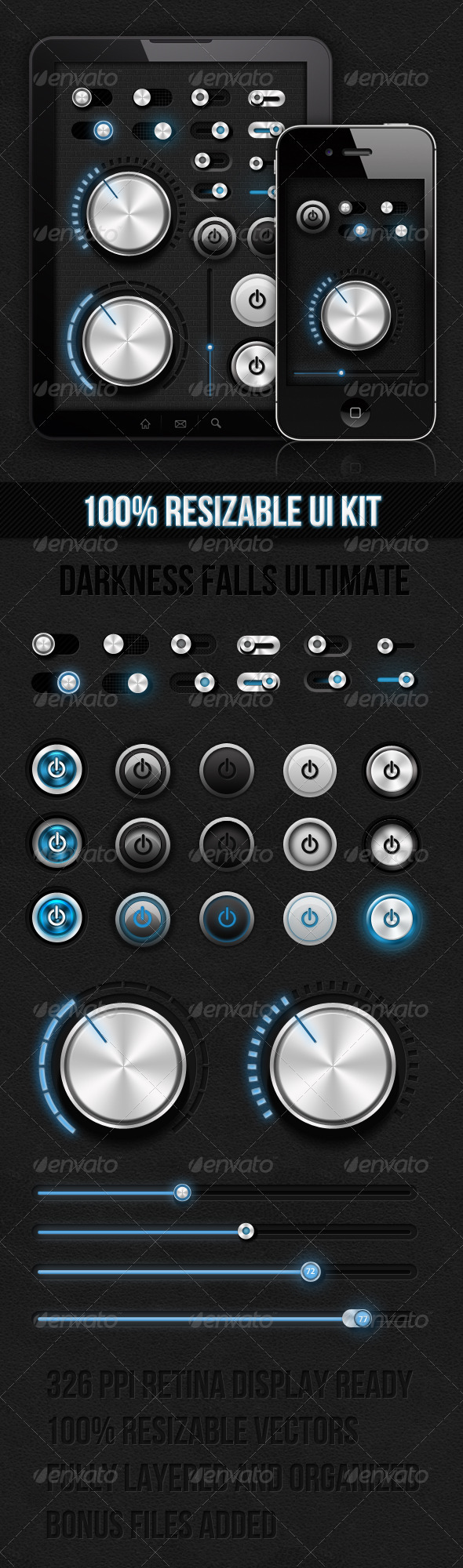 Dark Ui Kit - Darkness Falls Ultimate - User Interfaces Web Elements