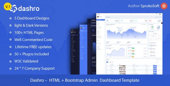 Dashro –  HTML Bootstrap Admin Template
