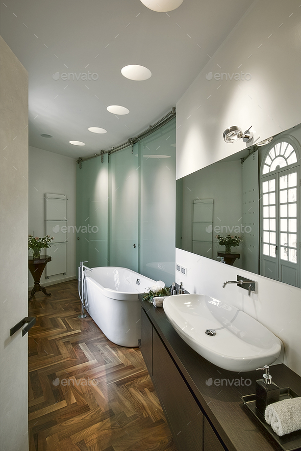 Interiors of the Bathroom in a Modern Apartment - Stock Photo - Images