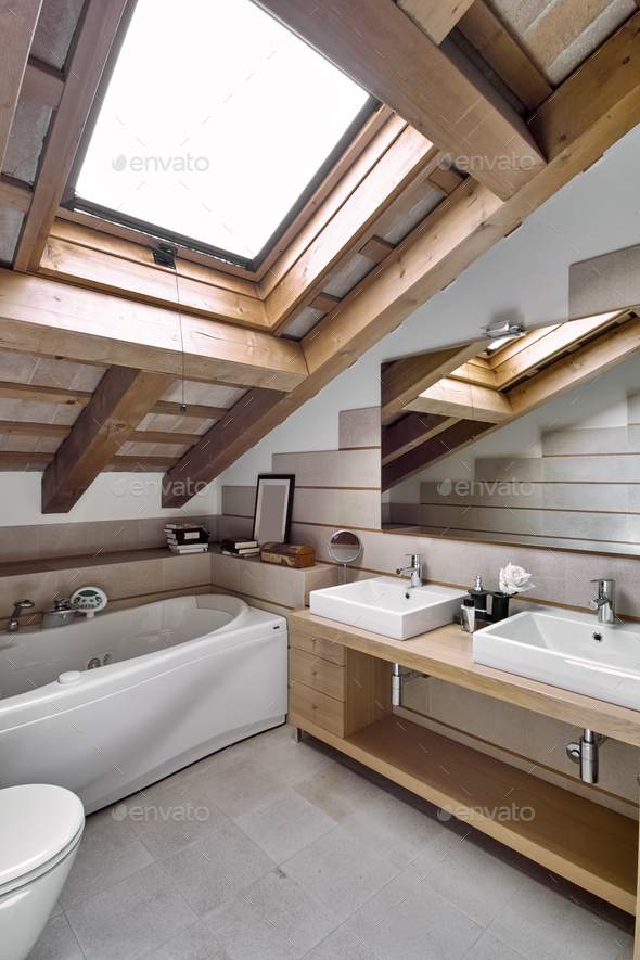Interiors of the Bathroom in the Attic - Stock Photo - Images