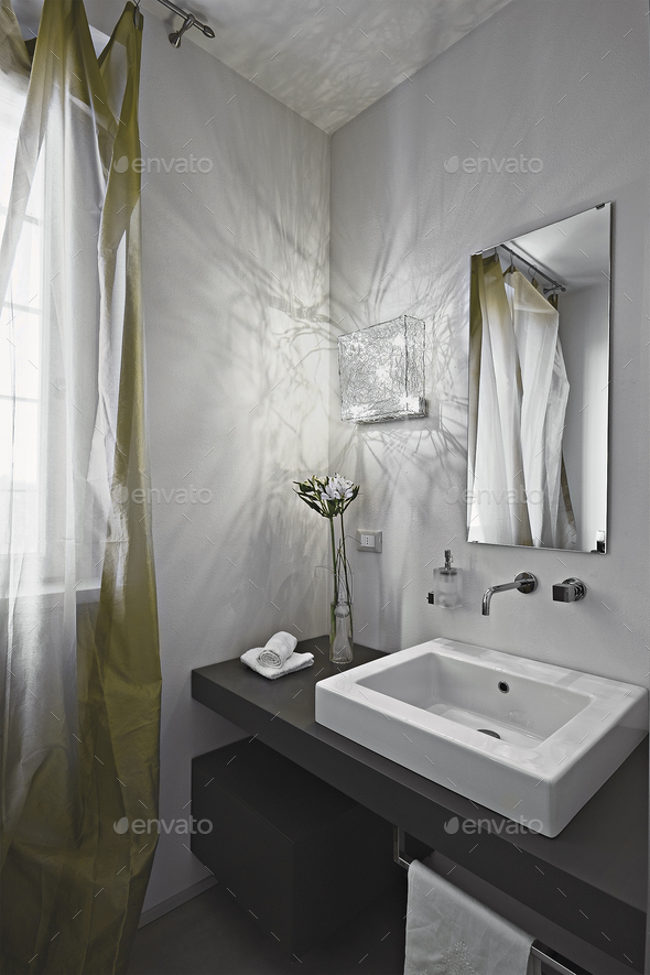 Interiors Shots of a Modern Bathroom - Stock Photo - Images
