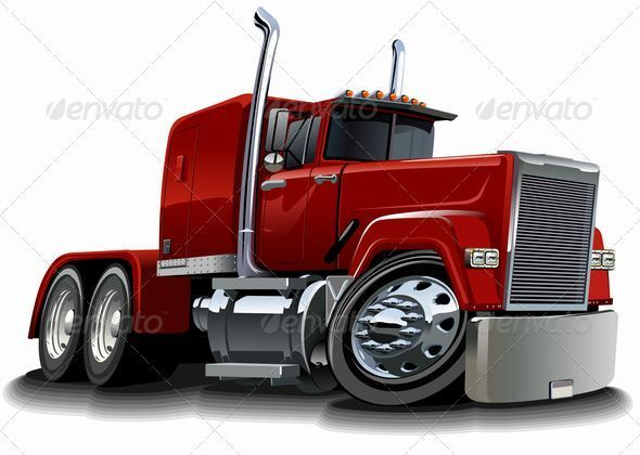 Vector Cartoon Semi Truck - Man-made Objects Objects