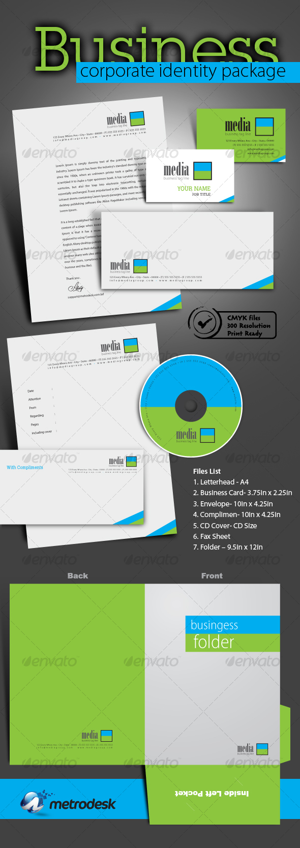 High quality print ready corporate identity 7 pack - Stationery Print Templates