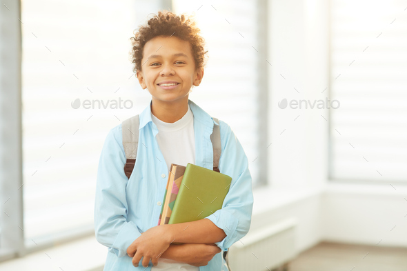 Cheerful African American Schoolboy - Stock Photo - Images