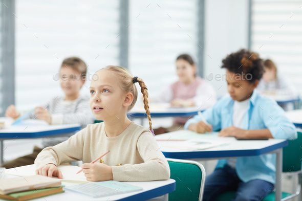 Blond Girl At School - Stock Photo - Images