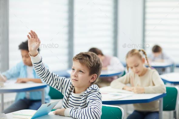 Caucasian Boy Raising Hand In Class - Stock Photo - Images