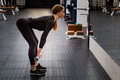 Beautiful woman performs Romanian deadlift in gym - PhotoDune Item for Sale