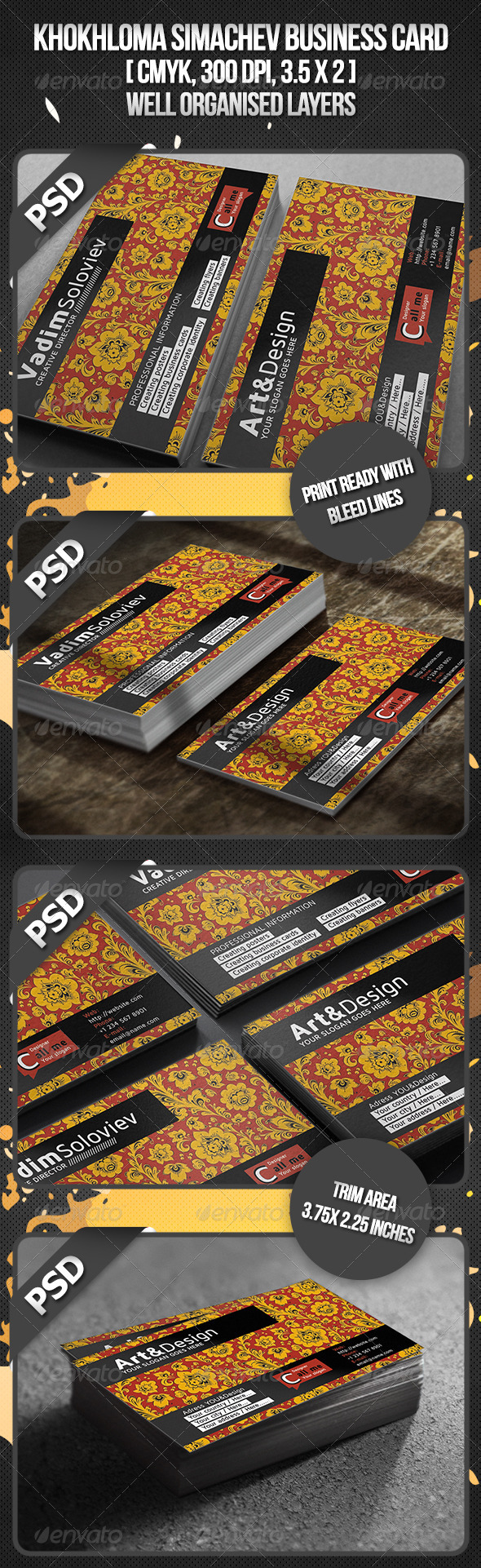 Khokhloma Simachev Business Card - Business Cards Print Templates