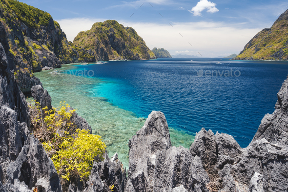 El Nido, Palawan, Philippines. Tapiutan strait view from Matinloc island viewpoint. Bacuit - Stock Photo - Images