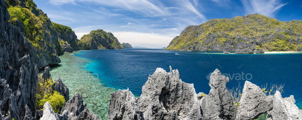 El Nido, Palawan, Philippines. Panorama of tapiutan strait with tourist boats on tour C. View from - Stock Photo - Images
