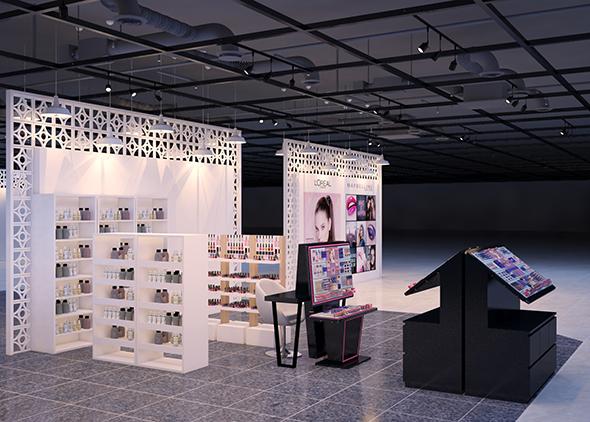 3d interior of Cosmetic Lipstick shop