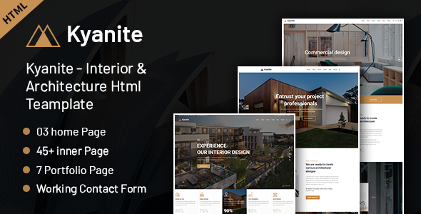 Incredible Kyanite - Interior Design & Architecture HTML5 Template