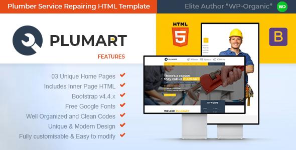 Plumart - Plumber Service Repairing HTML Template