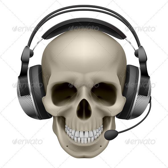 Skull with Headphones - Characters Vectors