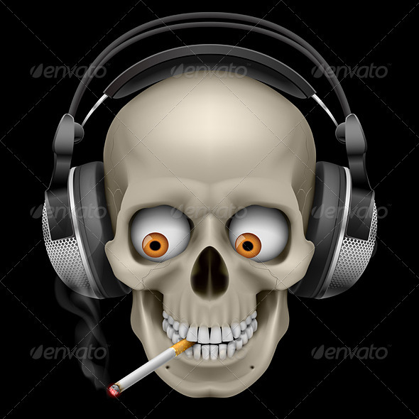 Skull with Headphones with a Cigarette - Monsters Characters