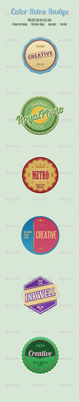 Color Retro Badge - Badges & Stickers Web Elements