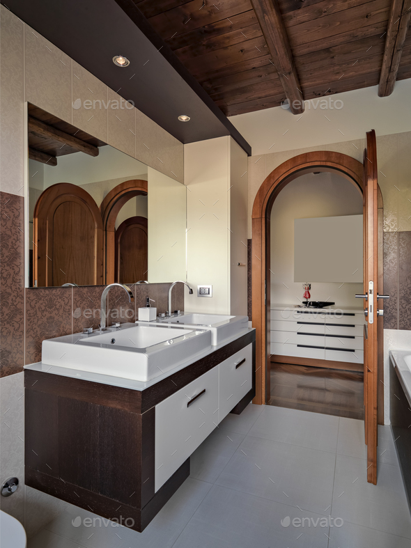 Interior of the Modern Bathroom - Stock Photo - Images