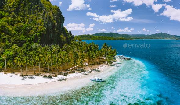 Epic Pinagbuyutan Island, El Nido, Palawan, Philippines. Aerial drone view of remote secluded - Stock Photo - Images