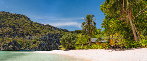 Hidden long so called Star Beach with sporadic accommodation. El Nido, Palawan, Philippines. Tour C - Stock Photo - Images