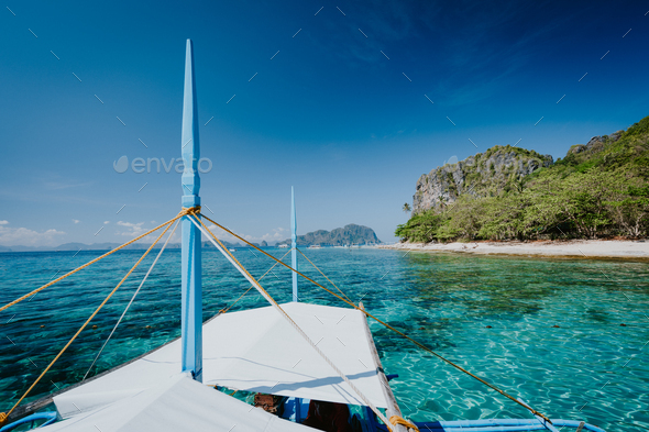 Boat trip to tropical islands El Nido, Palawan, Philippines. Discover exploring unique nature island - Stock Photo - Images