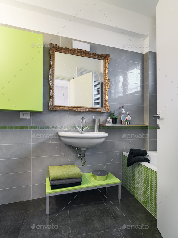 Interiors of a Modern Bathroom - Stock Photo - Images