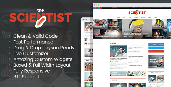 The Scientist - innovations and research news magazine WordPress theme