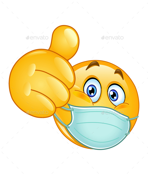 thumb up emoticon with medical mask by yayayoyo graphicriver thumb up emoticon with medical mask