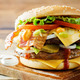 Meat Burger with salad, cheese, tomato and ketchup sauce - PhotoDune Item for Sale