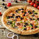 Pizza with shrimp, olives, green pepper and onion - PhotoDune Item for Sale