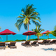 Beautiful tropical beach sea ocean with umbrella and chair around coconut palm tree on blue sky - PhotoDune Item for Sale