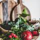 Fruit, vegetables, nut, greens over grey concrete kitchen counter - PhotoDune Item for Sale